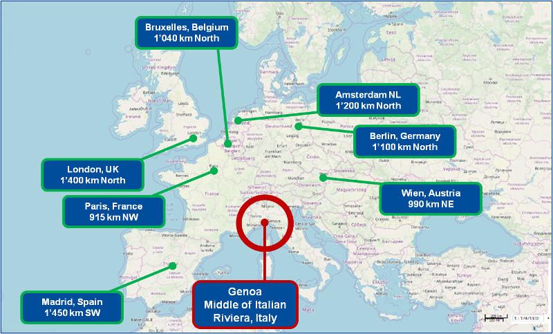 Genoa Map and Europe