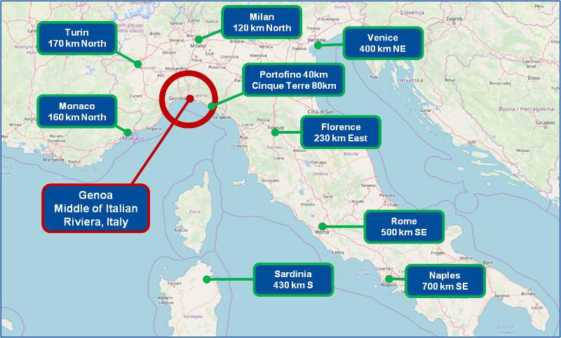 Genoa Map and Italy